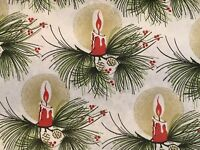 VINTAGE CHRISTMAS WRAPPING PAPER GIFT WRAP CANDLES 2 YARDS OLD STORE.
