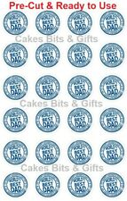 24x HAPPY FATHER'S DAY Edible Wafer Cupcake Toppers PreCut Ready to Use Design 8