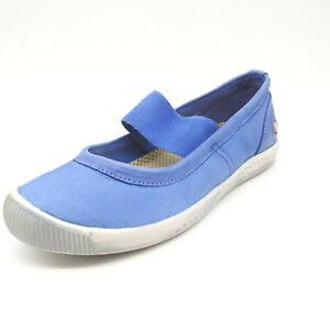 Softinos Womens Mary Jane Flat Blue Leather Cushioned Insole EUR 37