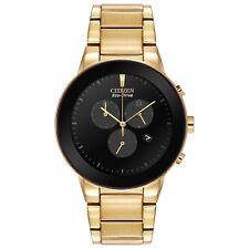 Citizen Men's Eco Drive Axiom Chronograph Gold Tone 43mm Watch AT2242-55E