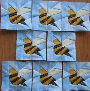 "8 Paper Pieced Honey Bumble Bee quilt block 4 1/2"""