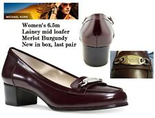"Michael Kors size 6.5 M ""Merlot"" Burgundy Loafer Shoes ""Lainey"" Mid Heel Slip-On"