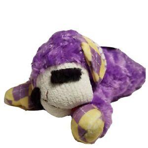 "Multipet Lamb Chop Squeaky Dog Toy Fetch Chew Plush Swirly Argyle Purple 11"""