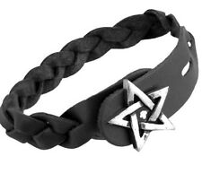 Pentagram Gaelic Celtic Plait Black Braided Leather Bracelet A37 Alchemy Gothic