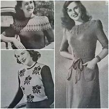 1940s Floral Fair Isle Half Sleeve Crop Jumper  Lincoln 674 Knitting Pattern