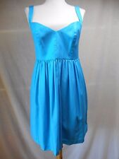 Ali Ro Shift Sun Dress Sz 6 Solid Turquoise Blue Cotton Pockets Fit & Flare