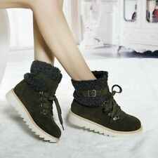 Combat Ankle Boots Womens Warm Winter Low Heel Flat Lace Up Outdoor Ankle Boots