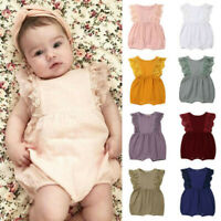 Newborn Infant Kids Baby Girls Lace Ruffled Romper Bodysuit Hair Band Outfit