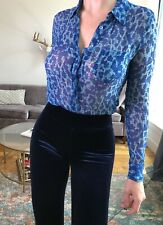 198$ Equipment Femme Blue Leopard Blouse XS 100% Silk D&G Office Classic Style