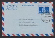 Kuwait 25f Sheikh aerogramme air letter used to Belgium