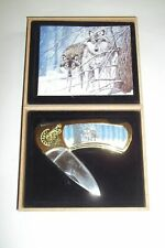 Collectible Cherry Wood Finish Boxed Pocket Knife with Wolves