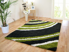 LARGE THICK DARK CHARCOAL IVORY WHITE LIME GREEN SHAGGY MAT RUG 120x160