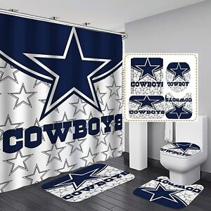 Dallas Cowboys Bath Rug Shower Curtain Texas Cowboys Mat Toilet Lid Cover 4PCS