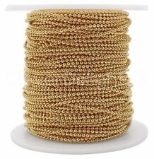 Ball Chain Spool - 30 Feet - Champagne Gold Color - 1.5mm Ball - 10 Yards Bulk