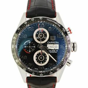 MINT TAG Heuer Carrera Black 43mm Automatic Black Red Leather Band CV2A10 Watch