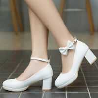 Women Cute Sweet Lolita Shoes Bow Chunky Heel Pumps Ankle Strap Mary Jane Shoes