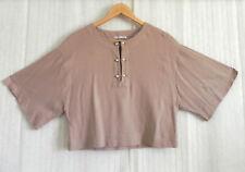 Zara Top Boxy Short Cotton Rustic Peach Kimono Sleeve Drop Shoulder Size S