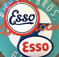 top quality ESSO GASOLINE - SET OF TWO porcelain coated 18 GAUGE steel signs