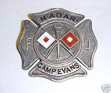 RARE FIRE DEPT HAT BADGE CAMP EVANS RADAR SIGNAL LABORATORY FT HANCOCK NJ 1930'S