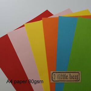 A4 coloured paper 80gsm * Set of 60 * Craft Children Scrapbooking Pink Red Blue