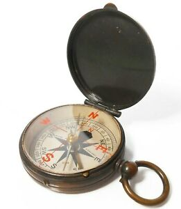 LATE 19TH-EARLY 20TH C ANTIQUE ENGLISH MARITIME COMPASS BRASS CASE/PNTD GLS/DIAL