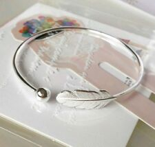 925 sterling silver feather angel  torque cuff ball adjustable bangle bracelet