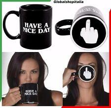 Tazza In ceramica HAVE A NICE DAY Dito Medio Alzato Mano Colazione Caffè Latte