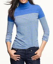 J CREW Painter turtleneck tee in stripe XS X-Small Blue White Gold Buttons NEW