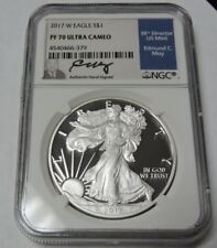 2017 W Silver American Eagle NGC PF70 Ultra Cameo Moy Signed
