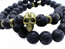 Skully Lava Stone Beaded Bracelet 8mm Beads Fashion Jewelry Summer 2016 Fashion