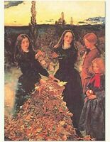 Victorian Trading Co Girls with Leaves Thanksgiving Greeting Cards (6 pack)