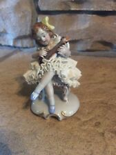 """Antique Dresden Sitzendorf """"Girl Playing Lute"""" Porcelain Figurine Germany RARE"""