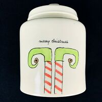 Rae Dunn Magenta Ivory Farmhouse Merry Christmas Elf Shoes Canister With Lid