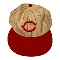 VTG 90s Cincinnati Reds MLB New Era Pinstripe Wool USA Made Hat Size 7 3/8 Wide