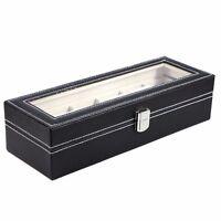 6 Slot Black Leather Watch Box Jewelry Storage Organizer w/ Glass Top Display