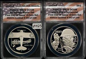 2018 WW1 Centennial Silver Dollar & Air Service Medal Set -ANACS PR70- Z1423