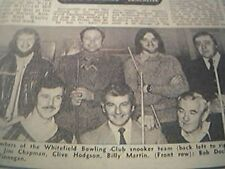 ephemera 1977 - picture whitefield bowling club snooker team chapam hodgson
