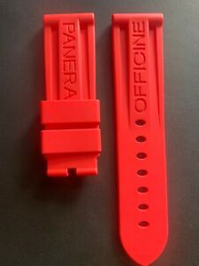 OFFICINE PANERAI WATCH STRAP RED RUBBER 24x 22 mm FOR TANG