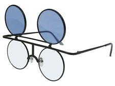 Round Flip up Sunglasses Glasses Color Lens Retro Steampunk Vintage Black Blue