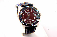 Sport Men Watch with Brown Dial and Black Leather Band WATER RESIST