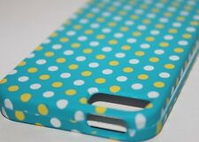 iPhone SE 5S HARD PROTECTOR CASE SKIN COVER TURQUOISE BLUE YELLOW POKLA DOTS