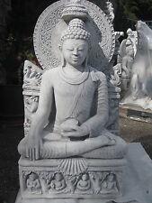 Buddha XL 135 kg 95 cm groß Steinfigur Feng Shui Statue Gartenfigur patiniert