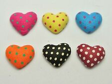 50 Mixed Color Flatback Polka Dots Fabric Covered Buttons Heart 16mm Cabochon
