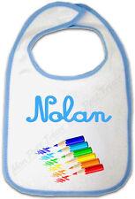 Bavoir Bébé Bleu Crayon de Couleur avec Prénom Personnalisé
