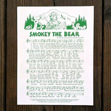 2 Original SMOKEY THE BEAR SHEET MUSIC Conservation Pledge 1980s UNUSED