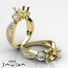 Classic Three Stone Diamond Wedding Ring 18k Yellow Gold Round Semi Mount 1.3Ct