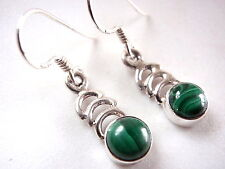 Small Malachite Nicely Accented 925 Sterling Silver Dangle Earrings New