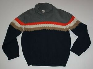 Used Gymobree Boys 10 12 Year Sweater Soft Knit Gray Navy Blue Long Sleeve Top