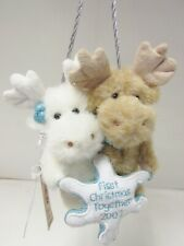 """Boyd's #562933 """"First Christmas Together"""" Plush Moose Ornament Brand New - Mint"""