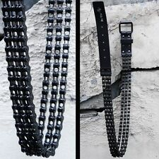 Byther Men's Rocky Style Black Metal Chain Solid Gothic Leather Belt AU N